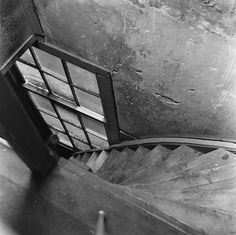 Stairs in the Annex. It led from the office to the Secret Annex.  Prinsengracht 263, Amsterdam 1954
