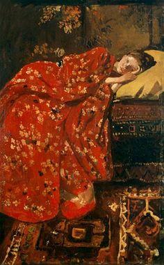 George Hendrik Breitner, meisje in rode kimono (Geesje Kwak) on ArtStack #george-hendrik-breitner-1857-1923 #art