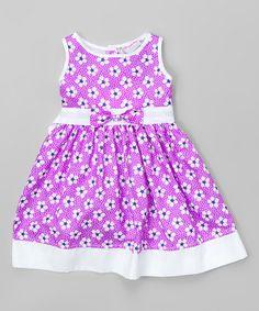 Look at this #zulilyfind! Purple Daisy Dot Sleeveless Dress - Infant & Girls #zulilyfinds