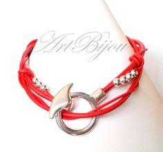 Leather Necklaces – Leather Necklace, Silver Necklace, Red, Zamak – a unique product by ArtBijou on DaWanda