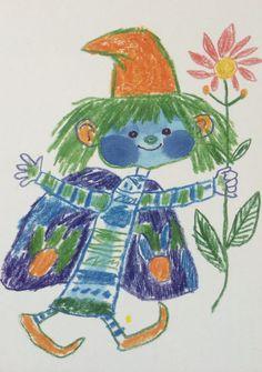 REICH KÁROLY                              Little people, tale illustration, chalk  (Kis manó, meseiilusztráció, kréta) by BI
