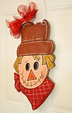 Autumn Fall Scarecrow Burlap Door Hanger by MustLoveArtStudio, $35.00