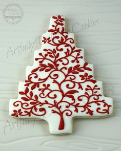 Christmas Tree Project by Artfully Delicious Cookies, via Flickr Cut Out Cookies, Iced Cookies, Cute Cookies, Delicious Cookies, Fancy Cookies, Cupcake Cookies, Christmas Sweets, Decorated Christmas Cookies, Christmas Sugar Cookies