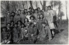 Group portrait of French and Belgian Jewish women recently liberated from the Ravensbrueck concentration camp.