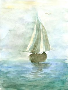 Watercolor Painting Of Yacht At Sea