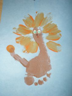 lion footprint craft...need to remember for spirit week