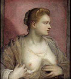 "Domenico Tintoretto, ""La dama que descubre el seno"", siglo XVI, óleo sobre lienzo, 62 x 55,6 cm"