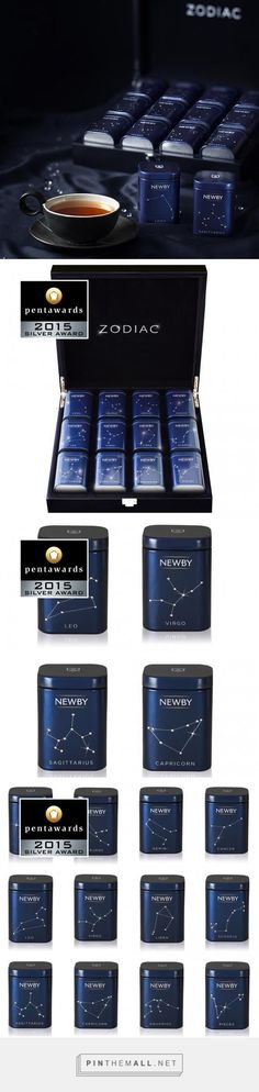 Newby Tea | ZODIAC COLLECTION GIFT SET | ZODIAC MINI CADDIES | A selection of the 12 finest, freshest teas in individually decorated mini caddies with Swarovski® crystals in the shape of the star constellations that give their name to the signs of the zodiac. | Silver Pentaward 2015