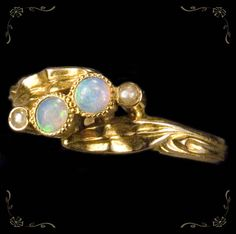 Glowing Vintage Fire Opal Pea Pearl 10k Gold Ring