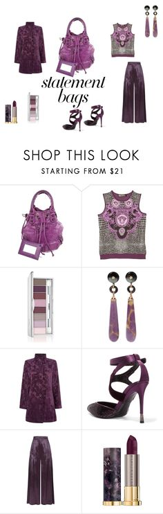 """""""Purplish Saturday afternoon"""" by micettes ❤ liked on Polyvore featuring Balenciaga, Versace, Clinique, Wendy Yue, TIGI, Tom Ford, Temperley London and Urban Decay"""