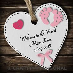 Personalised-New-Baby-Girl-Boy-Wooden-Heart-Gift-Plaque-or-Magnet-Keepsake