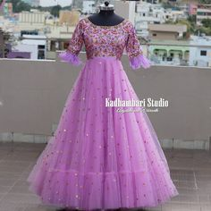 This out fit is Available from house of Kadhambari. We can customize the colour and size as per your requirement. Simple Gown Design, Long Gown Design, Latest Gown Design, Bridal Dress Design, Designer Anarkali Dresses, Designer Dresses, Designer Wear, Long Gown Dress, Long Gowns