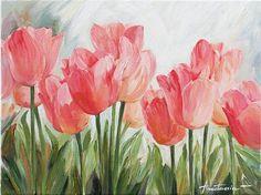 Floral Art Tulip Flowers Original Oil Painting on Canvas Contemporary Home Decor Art on Etsy, $125.00
