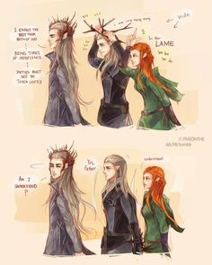 Thranduil, Legolas and Tauriel OMG THEY HAVE TO GET MARRIED I LOVE THEM. and i love these three