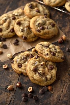 """Soft, thick, and chunky, these chocolate chip cookies have a fancy and flavorful """"bake shop"""" twist with crunchy roasted hazelnuts! Hot Chocolate Brownies, Chocolate Hazelnut Cookies, Homemade Chocolate Chip Cookies, Chocolate Banana Bread, Chocolate Chip Recipes, Chocolate Chip Oatmeal, How To Roast Hazelnuts, Chip Cookie Recipe, Gastronomia"""