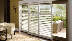 Sliding glass doors are great for letting in Mother Nature. Adding Polywood shutters gives the doors the added benefit of privacy and security without obstructing the view!