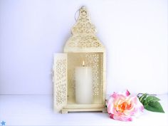 Vintage Christmas Winter Decor/ French Creamy White Lantern with gold/ Wedding Centerpiece Candle Holder
