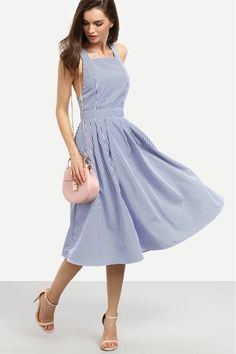 Cheap midi dress Buy Quality midi dress directly from China a dress Suppliers: SHEIN Women New Arrival Sexy Midi Dresses 2016 Summer Blue Striped Square Neck Sleeveless Crisscross Back A Line Dress Day Dresses, Dresses Online, Blue Dresses, Casual Dresses, Summer Dresses, Midi Dresses, Midi Sundress, Dresses 2016, Sundresses