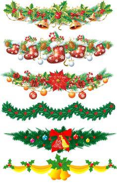 Новогодние и рождественские гирлянды на прозрачном слое