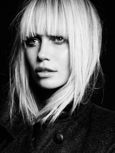 messy platinum blonde with cute fringe bangs! love!!