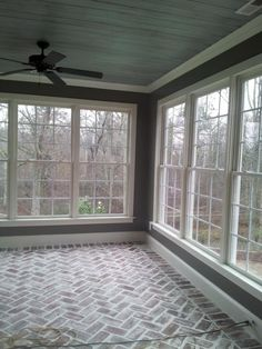 sun room reclaimed yr old brick laid in a herringbone pattern antiqued