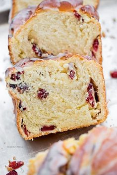 A recipe for Sweet Cherry Bread. A soft, sweet cherry bread topped with cream cheese frosting and sprinkles. Cherry Bread, Strawberry Banana Bread, Best Banana Bread, Banana Bread Recipes, Cake Recipes, Yogurt Bread, Healthy Cake, Food Cakes, Cookie Desserts