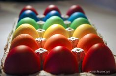 Super bright colored Easter eggs made using food coloring. Kids will love them!