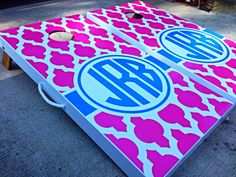 Custom Moroccan Lattice Personalized Cornhole Board Sets via Etsy