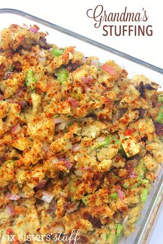 Grandma's Stuffing on SixSistersStuff.com | Our cute grandma is an amazing cook and this stuffing (dressing? I guess it would officially be dressing since we aren't stuffing the bird with it!) is something that she would make every year for Thanksgiving. I didn't know until recently that it wasn't made completely from scratch (as many of her recipes are) and I was so surprised that she actually used a box of Stove-Top, but added all her favorite things to make it taste amazing!