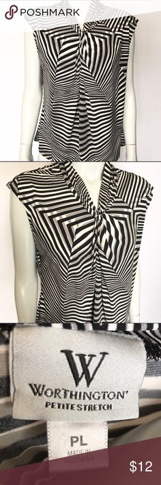 Worthington black, white, and gray patterned top Beautiful stretchy top with geometric pattern. Nice detail at neckline. Very flattering and comfortable! Perfect sleeveless layering shirt for professional work settings. Petite sizing. Worthington Tops Blouses