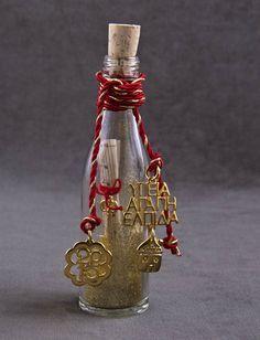 Γούρι μίνι μπουκαλάκι με φελλό NewMan | bombonieres.com.gr