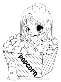 Popcorn Girl Lineart by *YamPuff on deviantART