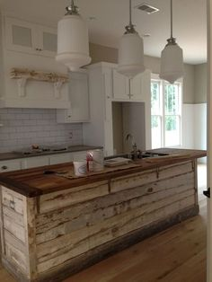 Kitchen Island Decor With Seating Rustic.Rustic Kitchen Island On Wheels. Traditional White Kitchen Home And Garden Design Ideas . Interior Design Ideas For Your Home In 2019 Kitchen . Home and Family Farmhouse Kitchen Island, Kitchen Redo, New Kitchen, Rustic Farmhouse, Kitchen Islands, Copper Kitchen, Kitchen Rustic, Kitchen Ideas, Kitchen Industrial