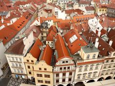 Prague photo red rooftop photo European town whimsical home decor 8x10, red tones, neutral colors, warm color, masculine photo. $18.00, via Etsy.