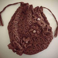 Crochet Bag Handbag With Flowers Short Strap Crochet Flowers, Bags, Crocheted Flowers, Handbags, Totes, Crochet Flower, Lv Bags, Hand Bags, Yarn Flowers