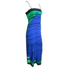 Vintage GALANOS 1980's era engineered print pure silk dress via Alan Hsu