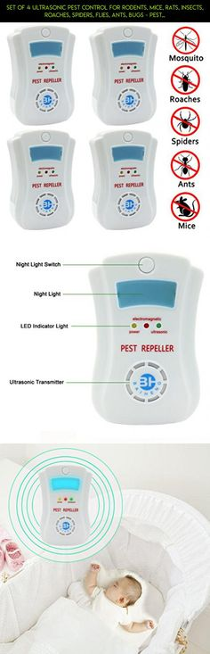 Set of 4 Ultrasonic Pest Control for Rodents, Mice, Rats, Insects, Roaches, Spiders, Flies, Ants, Bugs - Pest Repeller Equipment, Uses the Latest Ultrasonic Technology [with Night Light] #drone #parts #products #fpv #kit #gadgets #storage #tech #camera #plans #device #technology #racing #i #shopping