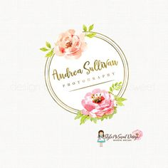 peony logo design watercolor flower logo por stylemesweetdesign
