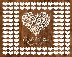 Wedding Guest book Alternative, Heart Wedding Guestbook, Hearts Wedding Poster, Shabby Chic Wedding, Rustic Wedding, wooden poster
