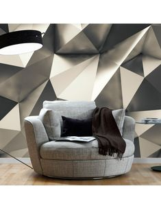 """Photo wallpaper """"Cosmic Silver"""" - wall mural with a touch of modern style in divine shades of grey. Wall Art Decor, Wall Murals, 3d Wallpaper Mural, Silver Wallpaper, Photo Wallpaper, Standard Wallpaper, Silver Walls, Geometric Decor, Home And Deco"""