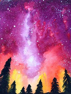 painting – Emily Sun- All Things Creative – Galaxy Art Watercolor Galaxy, Watercolor Art, Simple Watercolor, Watercolor Background, Watercolor Animals, Watercolor Landscape, Watercolor Flowers, Watercolour Drawings, Galaxy Painting Diy
