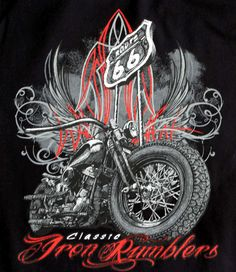 Route 66 Classic Iron Rumblers Bobber T Shirt – Fat Skeleton UK