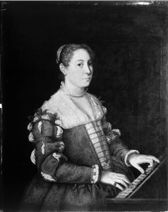 """Portrait of a Lady Playing the Harpsichord""  16th century  Venetian  slashes on sleeves, have the camicia showing through. Also evident is the square neckline, also starting to show Spanish influenced v-shape in the front."