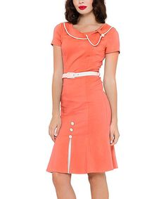 This Coral & White Button-Accent Belted Sheath Dress is perfect! #zulilyfinds