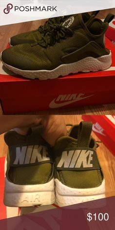 Nike olive huaraches Worn once. Excellent condition. Nike Shoes Sneakers