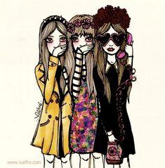 valfre, girls illustration