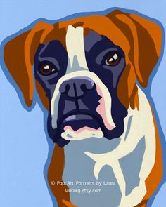 8x10 Pop Art Boxer Dog Print of Painting Signed by by LauraKG