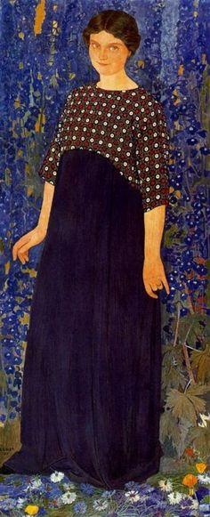 Ernest Biéler, Femme en bleu. Portrait de Michelle Biéler.
