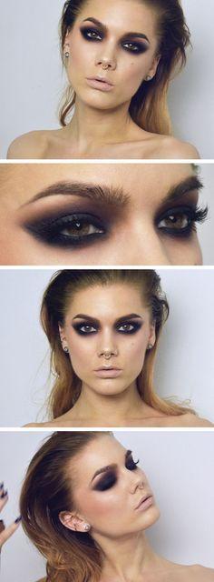 Grungy Black smokey eye makeup ideas