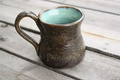 Turquoise and Brown Mug by Back Porch Studio #ceramic #Etsy